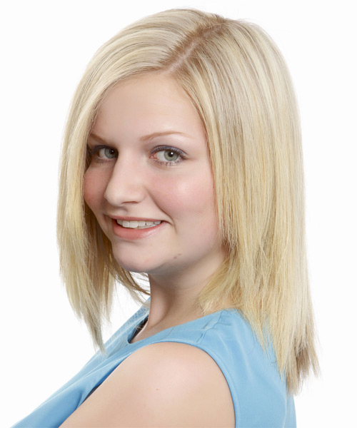 Medium Straight Formal    Hairstyle   - Platinum Hair Color - Side on View