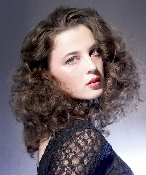 Medium Curly Formal   Hairstyle   - Medium Brunette - Side on View