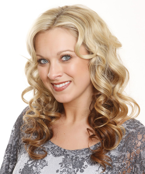 Long Curly Formal   Hairstyle   - Light Brunette - Side on View