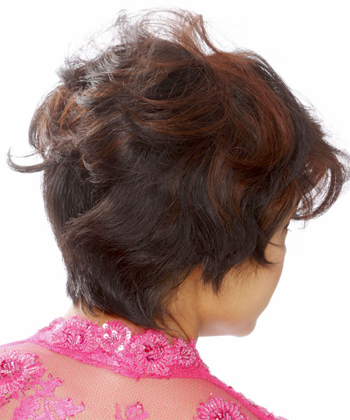 Short Straight    Brunette   Hairstyle   with  Red Highlights - Side on View