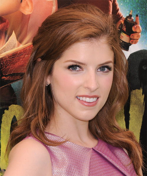 Anna Kendrick Medium Curly Half Up Red Casual Hairstyle