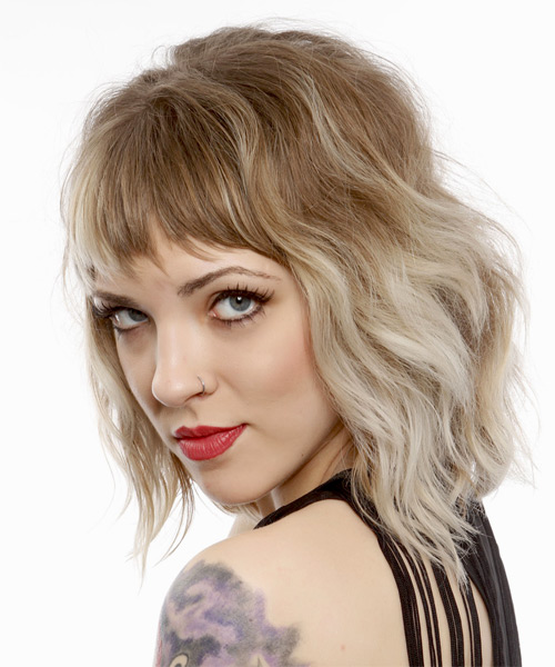 Medium Wavy Alternative   Hairstyle with Asymmetrical Bangs  - Light Blonde - Side on View