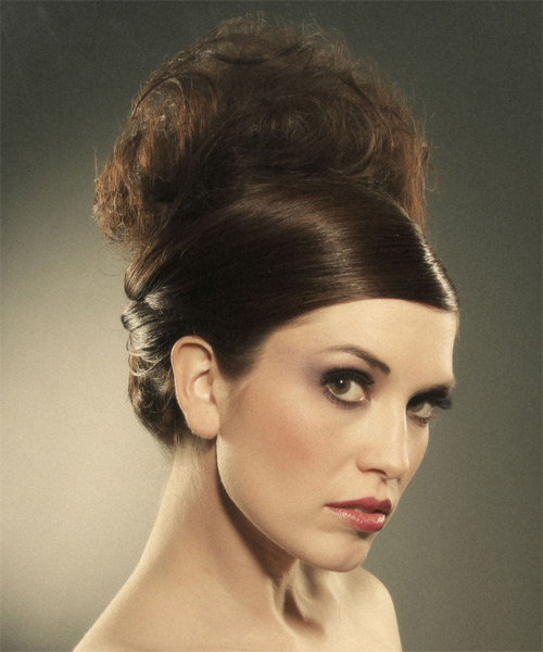 Updo Long Curly Formal Wedding Updo Hairstyle   - Medium Brunette - Side on View