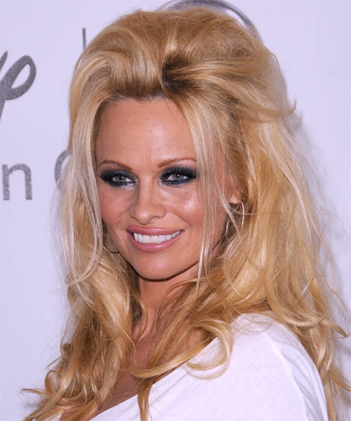 Pamela Anderson  Long Straight Casual   Half Up Hairstyle   - Medium Golden Brunette Hair Color - Side on View