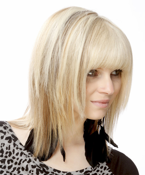 Medium Straight   Light Bright Blonde and  Brunette Two-Tone   Hairstyle with Blunt Cut Bangs  - Side on View