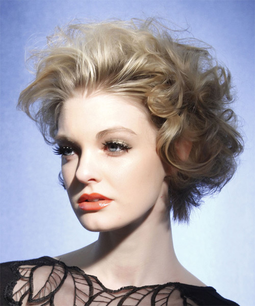 Short Wavy   Light Ash Blonde   Hairstyle   - Side on View