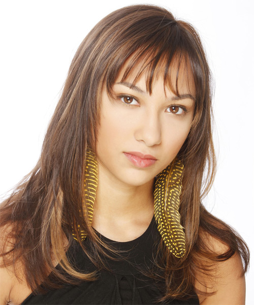 Long Straight Casual   Hairstyle with Layered Bangs  - Medium Brunette - Side on View