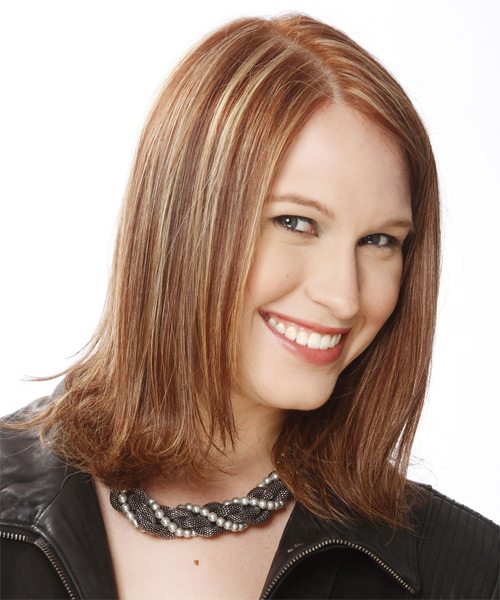 Medium Straight Formal   Hairstyle   - Medium Brunette (Golden) - Side on View