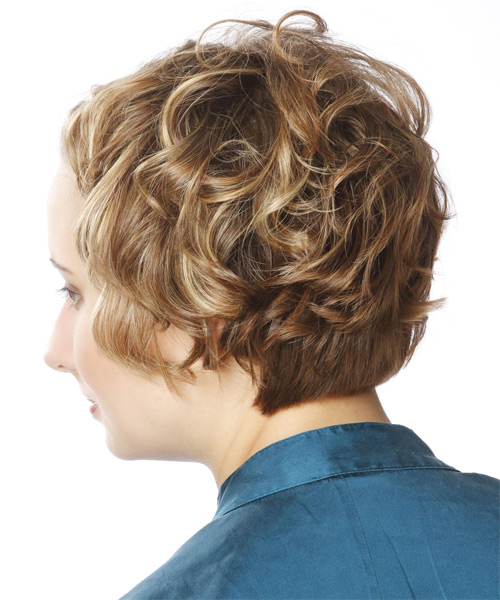 Short Wavy   Dark Caramel Blonde Braided  Hairstyle   with Light Blonde Highlights - Side on View