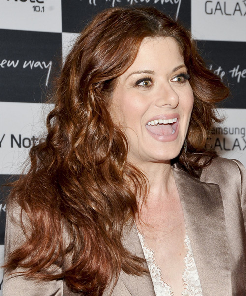 Debra Messing Long Wavy    Chestnut Brunette   Hairstyle   - Side on View
