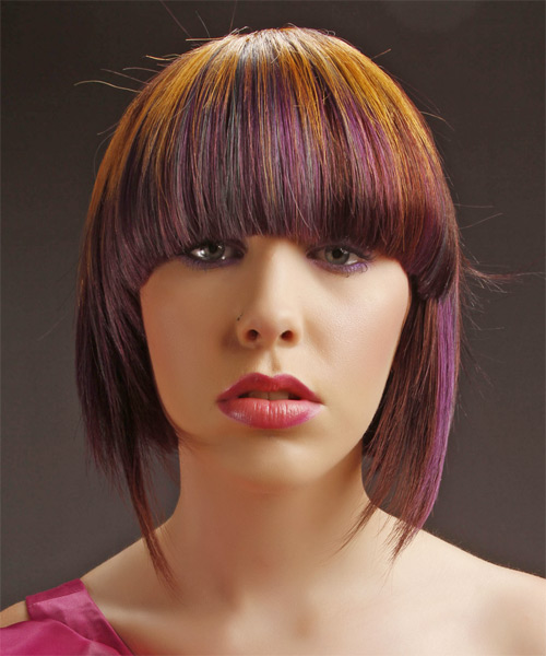 Medium Straight Alternative  Emo  Hairstyle with Blunt Cut Bangs  -  Copper Brunette Hair Color with Purple Highlights - Side on View