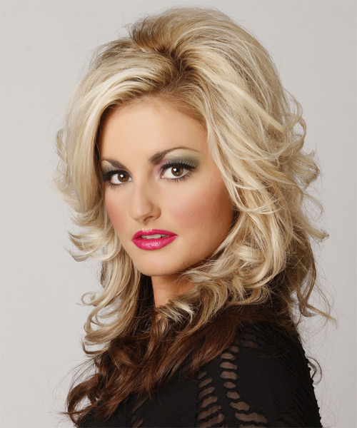 Long Wavy Formal    Hairstyle with Side Swept Bangs  - Light Chocolate Blonde and  Brunette Two-Tone Hair Color - Side on View