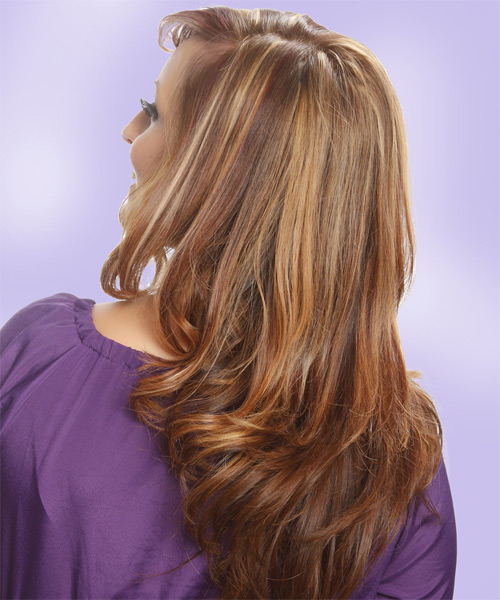 Long Straight Formal   Hairstyle with Side Swept Bangs  - Medium Brunette (Caramel) - Side on View