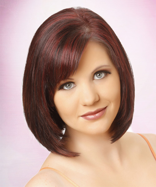 Medium Straight Formal Layered Bob  Hairstyle with Side Swept Bangs  -  Burgundy Brunette Hair Color with  Red Highlights - Side on View