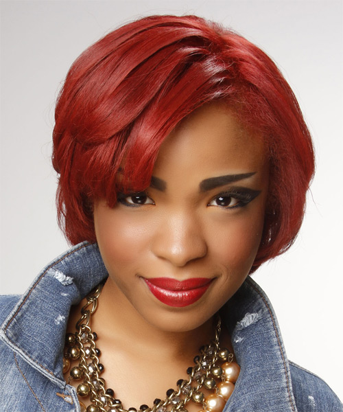 Short Straight    Bright Red   Hairstyle with Side Swept Bangs  - Side on View
