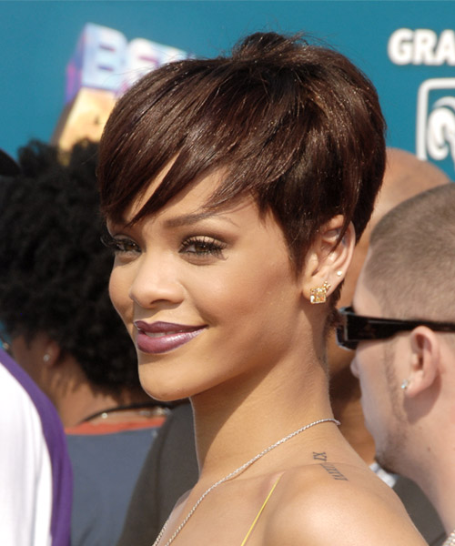 Rihanna Short Straight Casual    Hairstyle with Side Swept Bangs  - Medium Chocolate Brunette Hair Color - Side on View