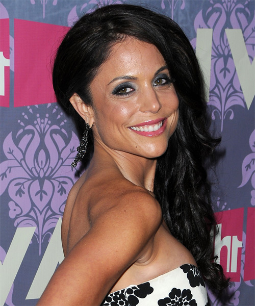 Bethenny Frankel Long Wavy Casual   Hairstyle   - Black - Side on View