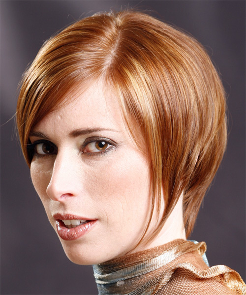 Short Straight Formal   Hairstyle with Side Swept Bangs  (Ginger) - Side on View