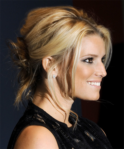 Jessica Simpson Updo Long Straight Casual Wedding Updo Hairstyle   - Medium Blonde (Champagne) - Side on View