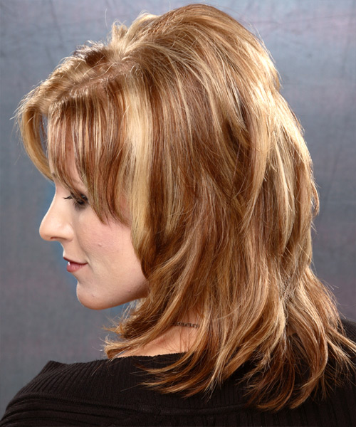 Long Straight   Light Caramel Brunette   Hairstyle   with  Blonde Highlights - Side on View