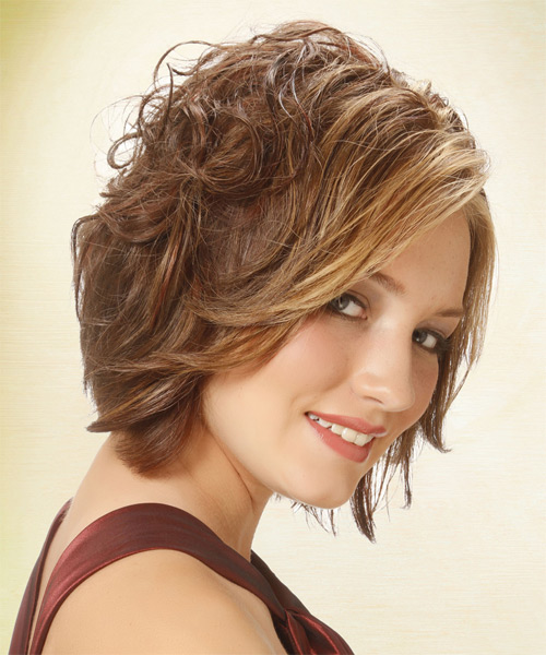 Short Wavy   Light Brunette   Hairstyle   with  Blonde Highlights - Side on View