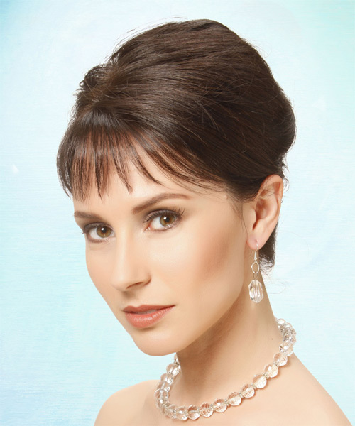 Updo Long Straight Formal Wedding Updo Hairstyle with Blunt Cut Bangs  - Medium Brunette - Side on View