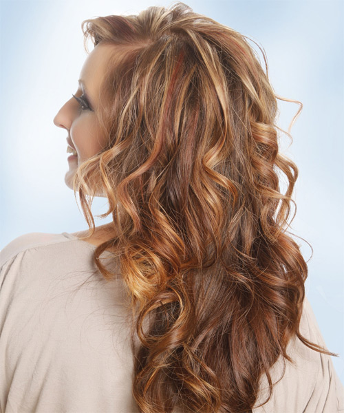 Long Wavy Casual   Hairstyle with Side Swept Bangs  - Medium Brunette (Copper) - Side on View
