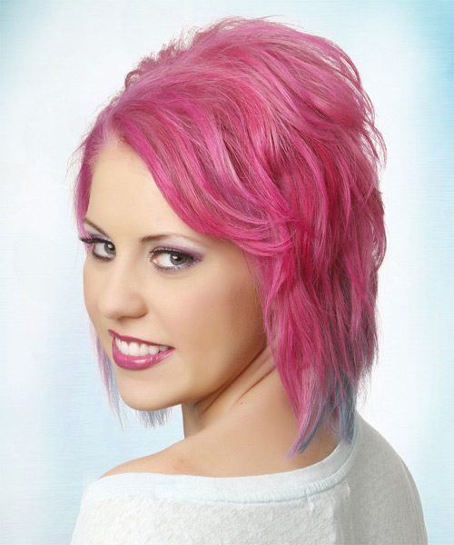 Medium Straight   Pink  and Blue Two-Tone   Hairstyle   - Side on View
