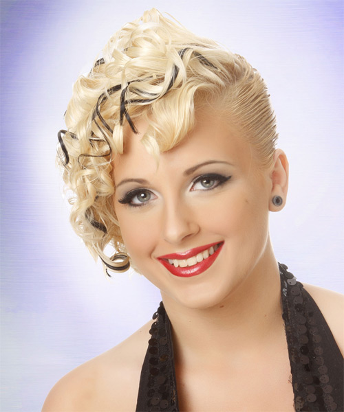 Updo Medium Curly Formal  Updo Hairstyle   (Platinum) - Side on View