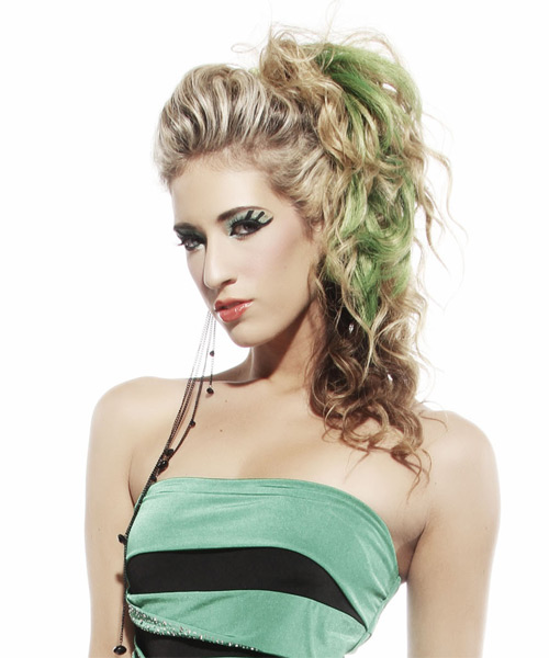 Long Curly Casual   Half Up Hairstyle   -  Champagne Brunette Hair Color with Green Highlights - Side on View