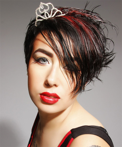Short Straight Casual    Hairstyle with Side Swept Bangs  - Black  Hair Color with Medium Red Highlights - Side on View