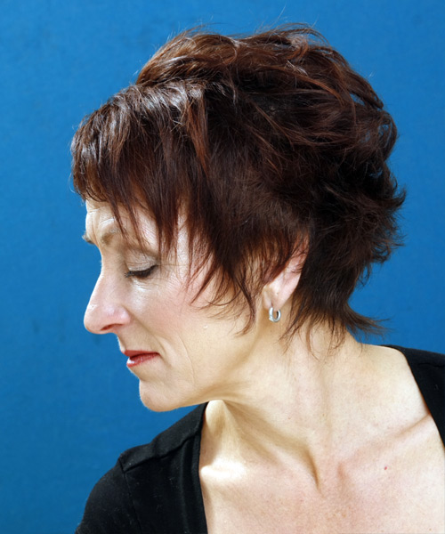 Short Wavy Formal   Hairstyle with Layered Bangs  - Medium Brunette - Side on View