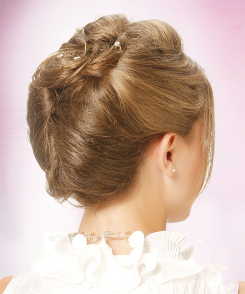 Long Straight Formal   Updo Hairstyle   - Light Caramel Brunette Hair Color with Light Blonde Highlights - Side on View
