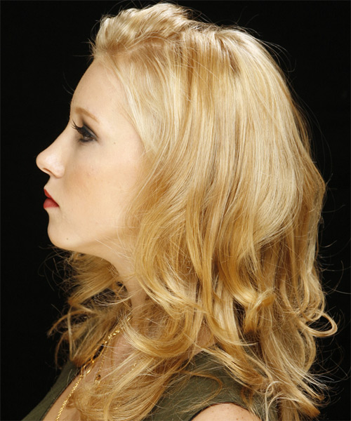 Long Wavy Casual   Hairstyle   - Light Blonde - Side on View