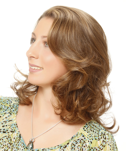 Medium Wavy Casual   Hairstyle   - Light Brunette (Golden) - Side on View