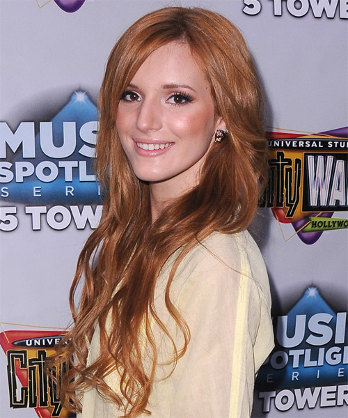 Bella Thorne Long Wavy Casual   Hairstyle with Side Swept Bangs  - Medium Brunette (Copper) - Side on View