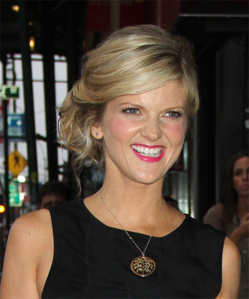 Arden Myrin  Long Curly Formal   Updo Hairstyle   -  Blonde Hair Color with Light Blonde Highlights - Side on View