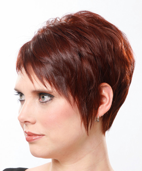 Short Straight Casual    Hairstyle   - Medium Mahogany Red Hair Color - Side on View