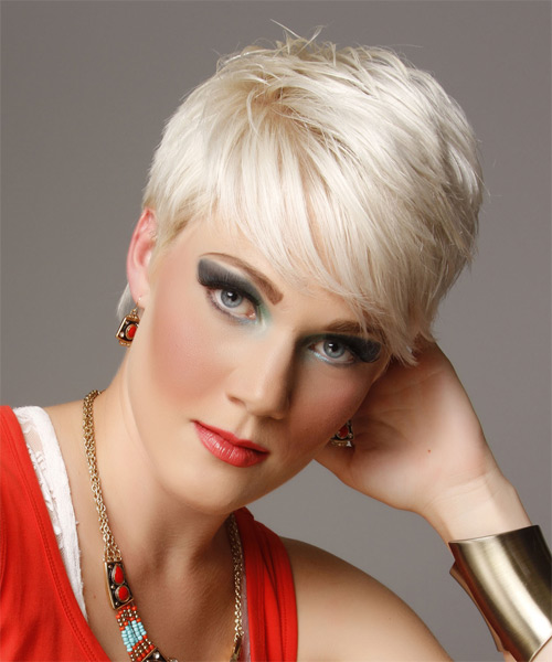 Short Straight Casual   Hairstyle with Side Swept Bangs  - Light Blonde (Platinum) - Side on View