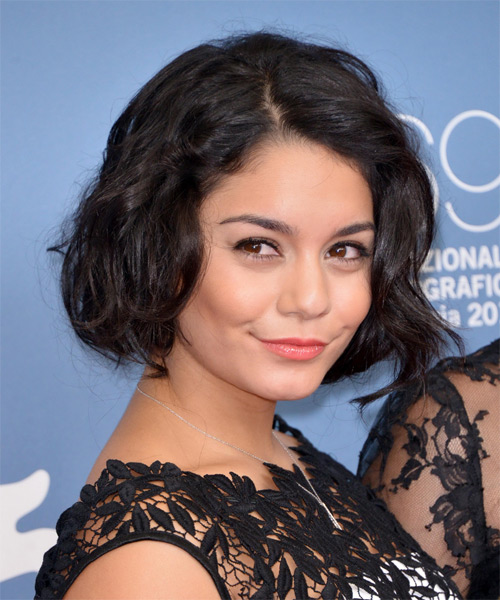 Vanessa Hudgens Short Wavy Casual  Bob  Hairstyle   - Dark Brunette Hair Color - Side on View