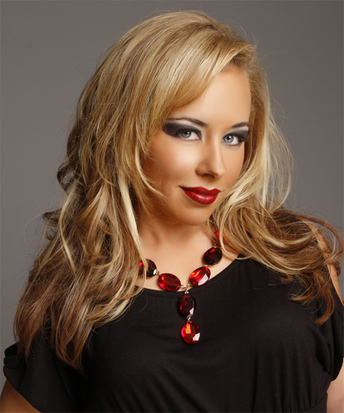 Long Straight   Dark Golden Blonde and  Blonde Two-Tone   Hairstyle   with Light Blonde Highlights - Side on View