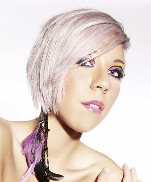 Short Straight   Light Platinum Blonde Asymmetrical  Hairstyle   with Pink Highlights - Side on View