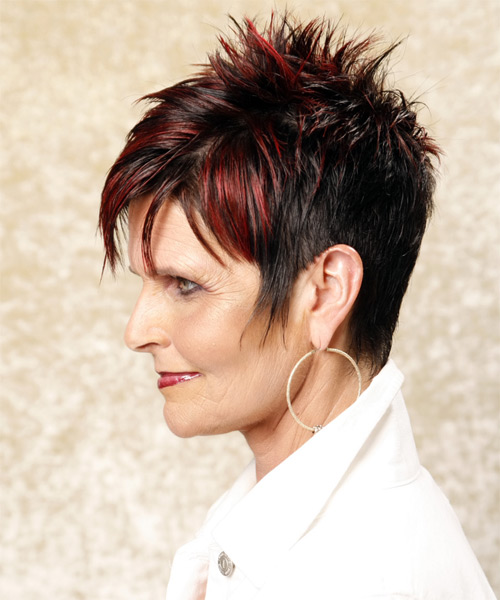 Short Straight Casual    Hairstyle with Razor Cut Bangs  - Black Burgundy  Hair Color - Side on View