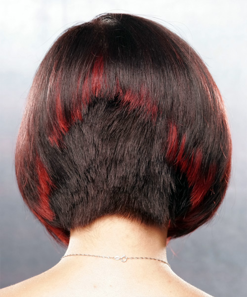 Medium Straight Alternative Bob  Hairstyle   - Dark Red - Side on View