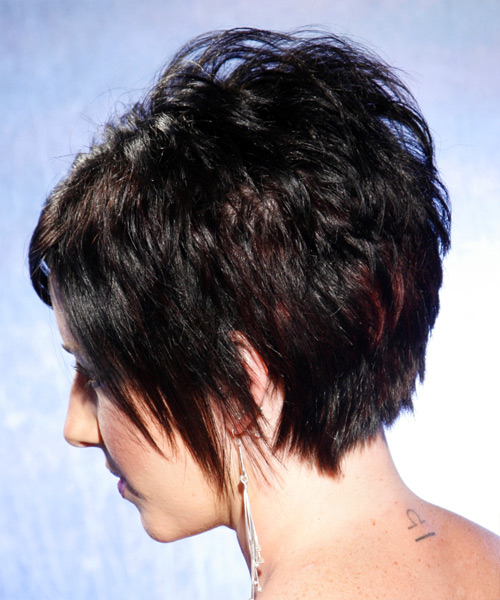Short Straight Alternative    Hairstyle   - Black Bright  Hair Color - Side on View