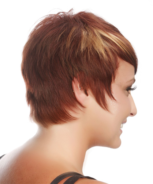 Short Straight Casual    Hairstyle   - Medium Burgundy Red Hair Color with Medium Blonde Highlights - Side on View