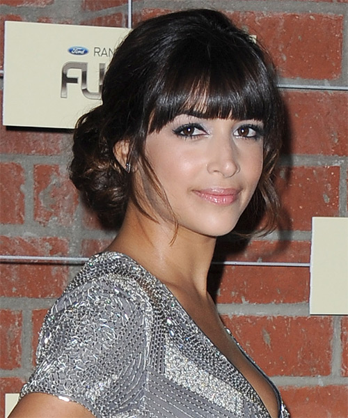 Hannah Simone Updo Long Curly Formal Wedding Updo Hairstyle with Blunt Cut Bangs  - Dark Brunette - Side on View