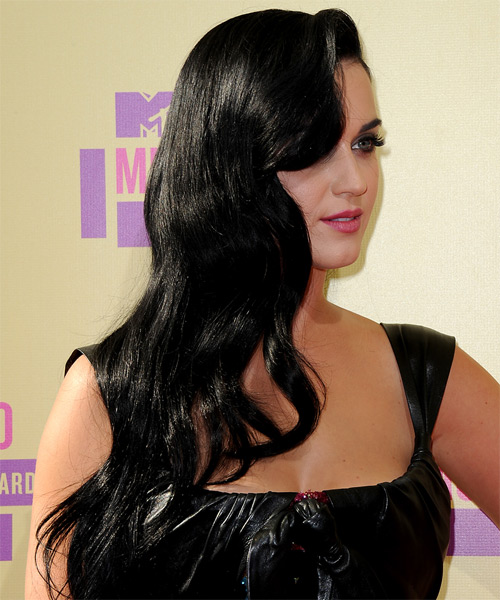 Katy Perry Long Wavy Casual   Hairstyle   - Black - Side on View