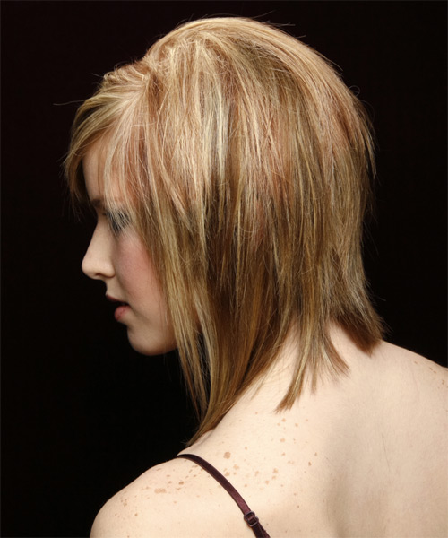 Medium Straight Casual    Hairstyle with Side Swept Bangs  -  Copper Blonde Hair Color with Light Blonde Highlights - Side on View