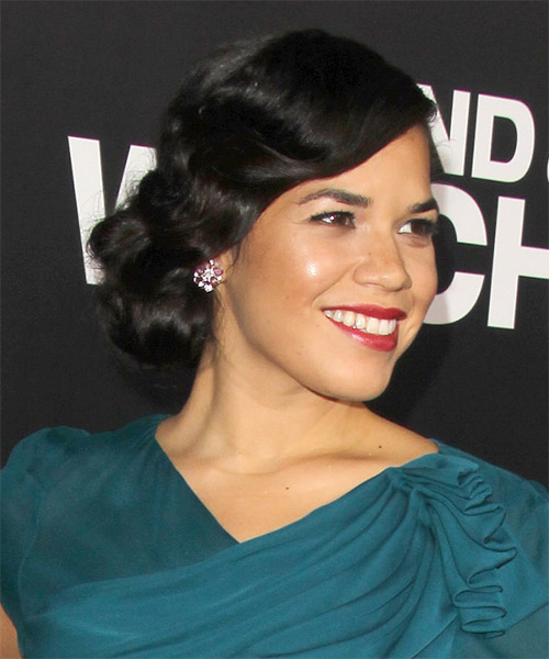 America Ferrera Updo Long Curly Formal Wedding Updo Hairstyle   - Black - Side on View